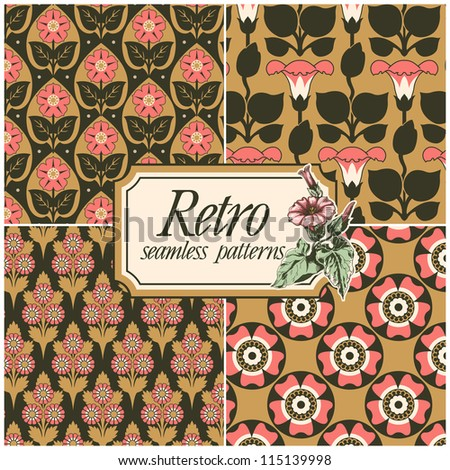 Set of four retro seamless patterns. - stock vector