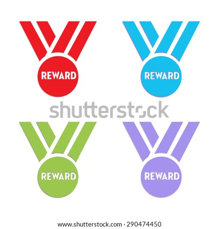 Set of four reward medals isolated on a white background - stock vector