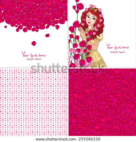 Set of four romantic design. Vector illustration with girl and bench of flowers, roses, hearts pattern. typography composition with lettering. - stock vector
