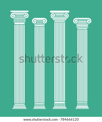 Set of four rome and greece antique columns and pilars. Vector illustration, isolated, flat, white color. On blue background