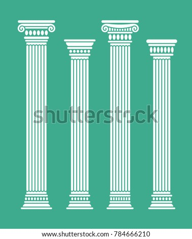 Set of four rome and greece antique columns and pilars. Vector illustration, isolated, flat, white color.