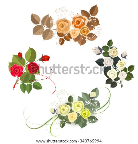 Set of four rose design elements isolated on white background. It can be used for greeting card and invitation. Red, yellow and beige roses. - stock vector