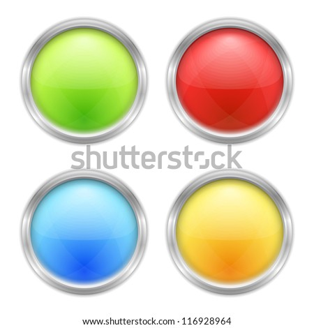 Set of four round buttons, vector eps10 illustration - stock vector