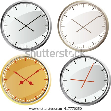 Set of four round large wall office clock isolated on white background.