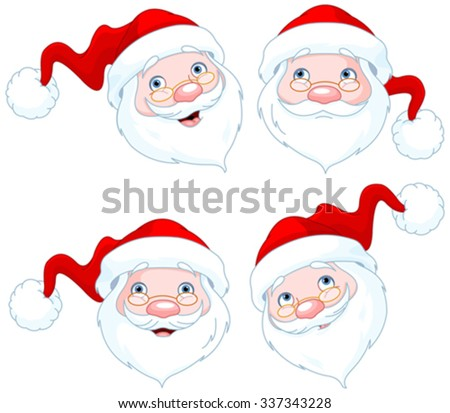 Set of four Santa Claus Face Expressions - stock vector