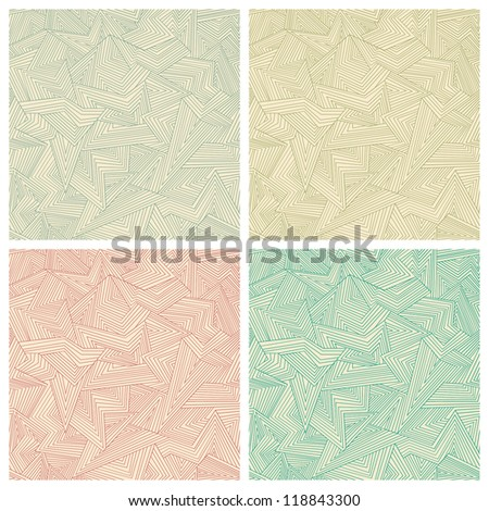 Set of four seamless abstract color patterns. Vector illustration - stock vector