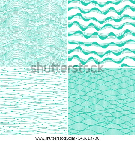 Set of four seamless abstract hand-drawn pattern, waves background. Each square pattern has the ability to be repeated or tiled without visible seams. - stock vector