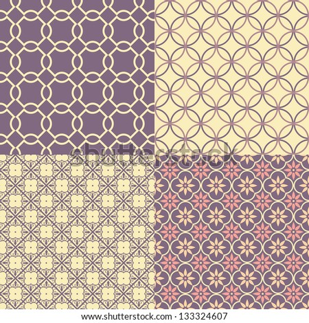 Set of four seamless abstract patterns. Vector illustration