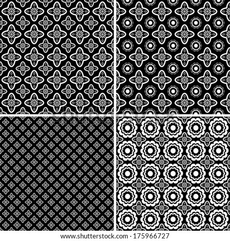 Set of four seamless black and white patterns.Vector.