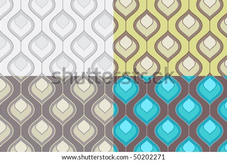 Set of Four Seamless Decorative Patterns - stock vector