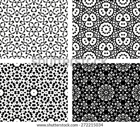 Set of four seamless geometric patterns, vector illustration