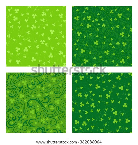 Set of four seamless green St. Patrick's day backgrounds with floral swirls and clover leaves. - stock vector