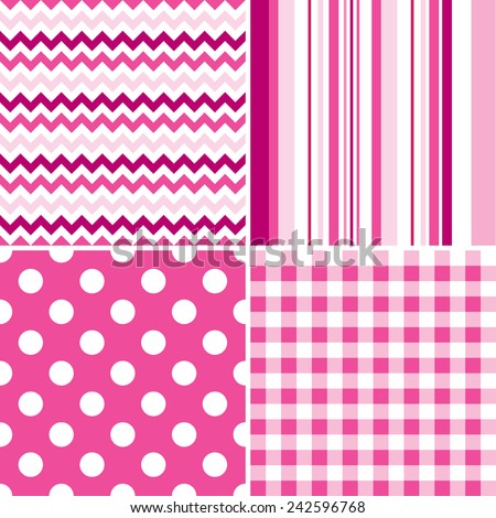 Set of four seamless illustrated pink and white patterns