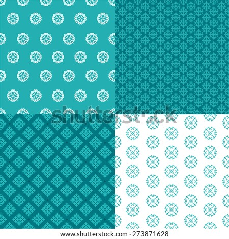 set of four seamless patterns. Kazakh, Asian, floral, floral pattern. Decorative background for greeting cards, invitations, web design. - stock vector