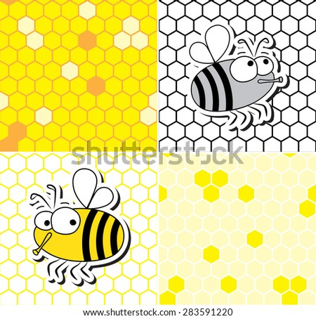 Set of four seamless patterns of honeycomb and two bees