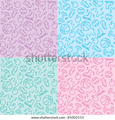 set of four seamless patterns with sports elements