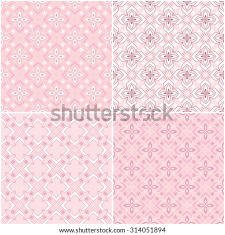 Set of four seamless texture on a pink background.  Element for design. Ornamental backdrop. Ornate floral decor for wallpaper. Traditional decor on Pink background.   - stock vector