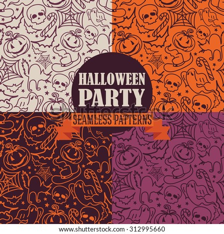 set of four seamless textures for Halloween, vector illustration - stock vector