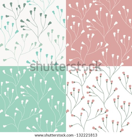 Set of four seamless vector floral pattern. Seamless pattern can be used for wallpaper, web page background, pattern fills,surface textures. Seamless floral background
