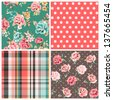 set of four seamless vintage flower pattern with check ,dots vector pattern background - stock