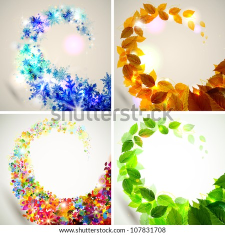 Set of four seasons background - stock vector