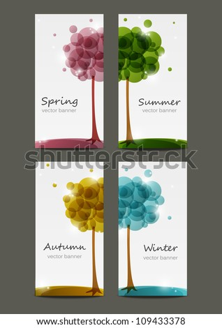 Set of four seasons banners - stock vector