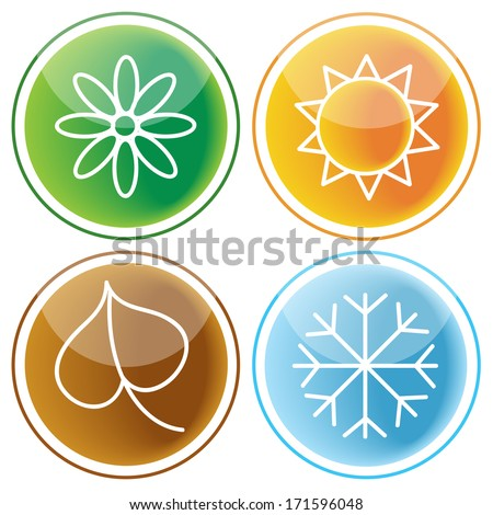 set of four seasons icons on glossy buttons - stock vector