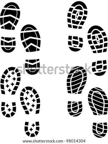 Set of four shoes silhouette - stock vector