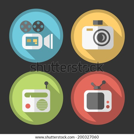 Set of Four Simple Flat Multimedia Icons on Circular Colored Minimal Buttons with Shadows (camera, video camera, radio and television) on Black Background.