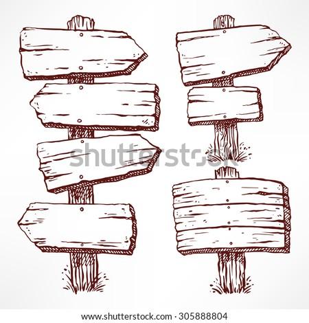 set of four sketch wooden billboards. hand-drawn illustration - stock vector
