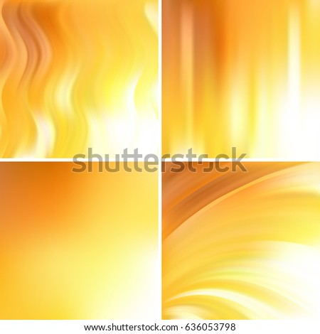 Set of four square backgrounds. Abstract vector illustration of colorful background with blurred light lines. Curved lines. Yellow, white colors