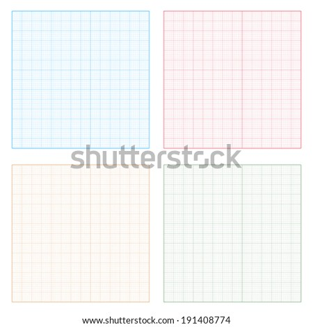 Set of four square grid backgrounds on white background.    Vector illustration.
