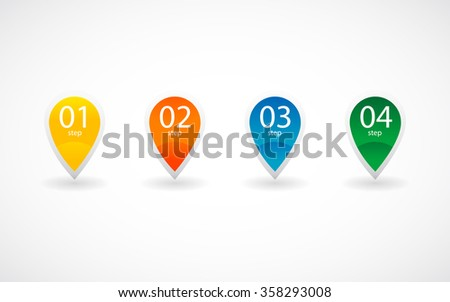Set of four steps pointer icons. Vector created illustration, isolated objects.  - stock vector