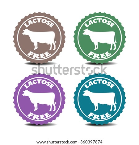 Set of four stickers with cow silhouettes and the text lactose free written on each sticker - stock vector