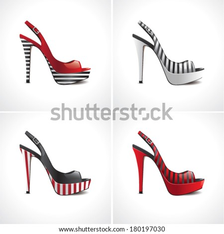 Set of four striped summer female shoes - stock vector
