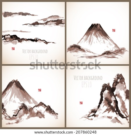 Set of four sumi-e compositions with mountains in vintage style. Vector illustration.Tradit ional japanese ink painting.  - stock vector