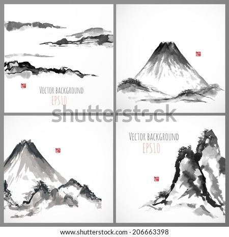 Set of four sumi-e compositions with mountains. Vector illustration.Traditional japanese ink painting. - stock vector