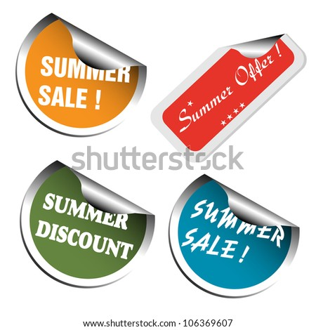 Set of four summer sale stickers colored in various colors. Summer offer advertising theme