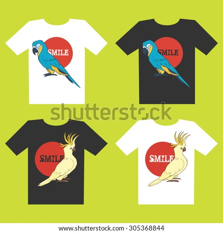 Set of four t-shirt designs with cockatoo and macaw - stock vector