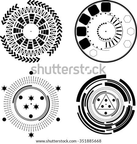 Set of Four Tech Circles . Technology Circle, Lines in Circle Form . Vector Illustration .Tech Circle Logo . Vector . - stock vector