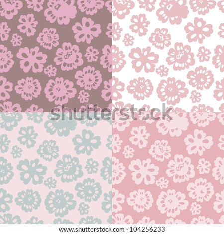 Set of four tender floral vector seamless patterns. Made in pastel tones