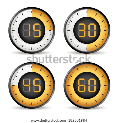 set of four timers, 15,30,45,60 dial - stock vector