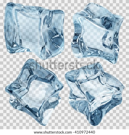 Set of four transparent ice cubes in blue colors. Transparency only in vector file - stock vector
