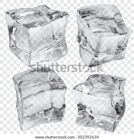 Set of four transparent ice cubes in gray colors - stock vector
