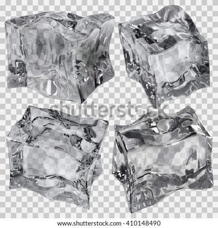 Set of four transparent ice cubes in gray colors. Transparency only in vector file - stock vector