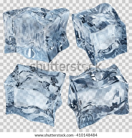 Set of four transparent ice cubes in light blue colors. Transparency only in vector file - stock vector