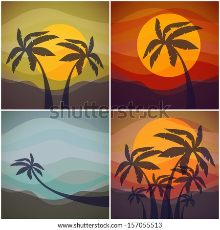Set of four tropical resorts view. Vector illustration