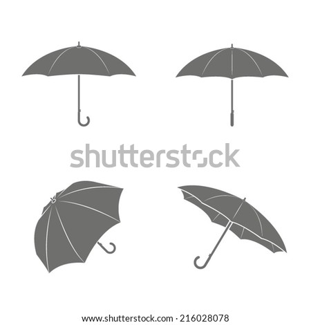 Set of four umbrella icons - stock vector