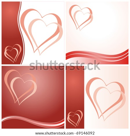 Set of four Valentine's day cards with hearts. Vector illustration.
