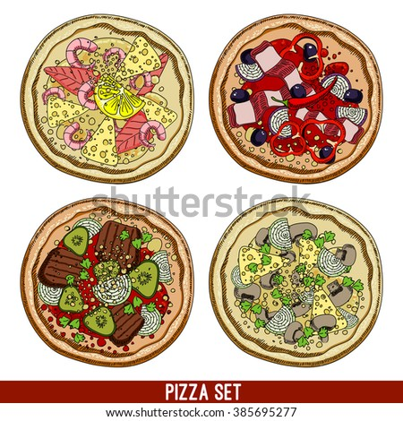 set of four varieties of pizzas, freehand drawing